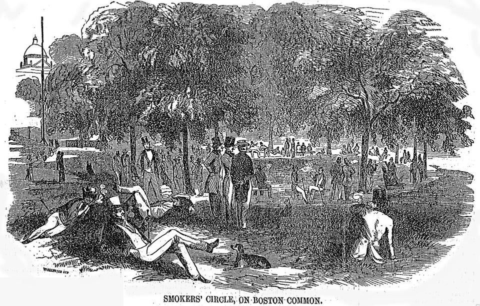 "Mayor John Bigelow announced in 1851 that a ""smoker's circle"" would be established in the southwest end of Boston Common.€"